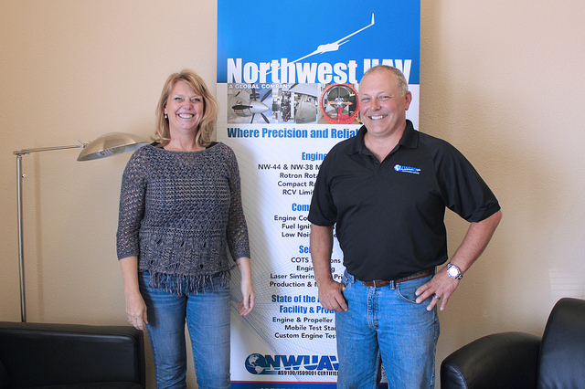 Heather Sorenson and Chris Harris in the NWUAV office