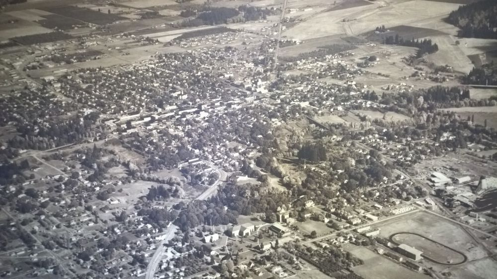 An aerial shot of McMinnville in the 1950s