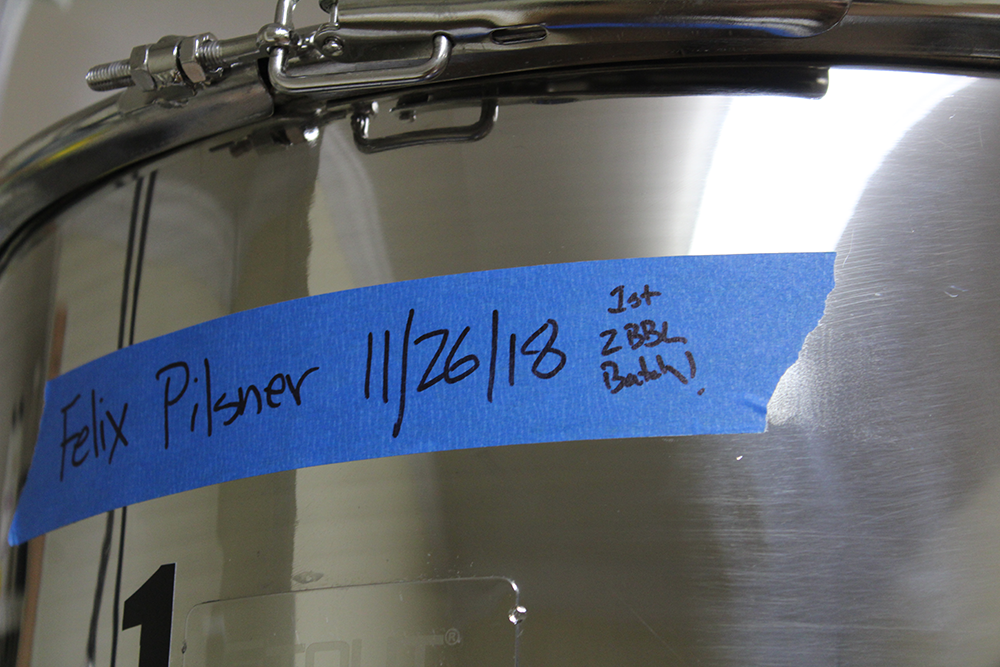 Bierly's first 2 Barrel Batch of Felix Pilsner is currently brewing.