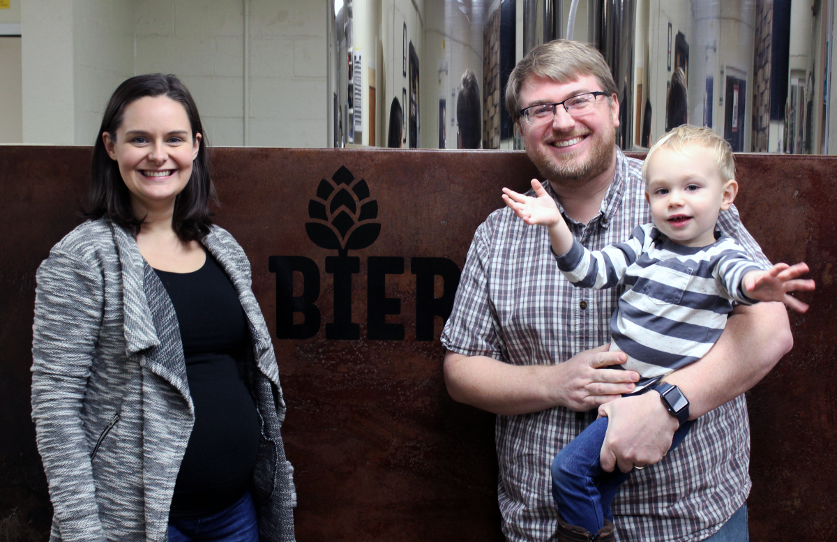 Head Brewer and Owner, JP Bierly with his wife Amelia and son Felix