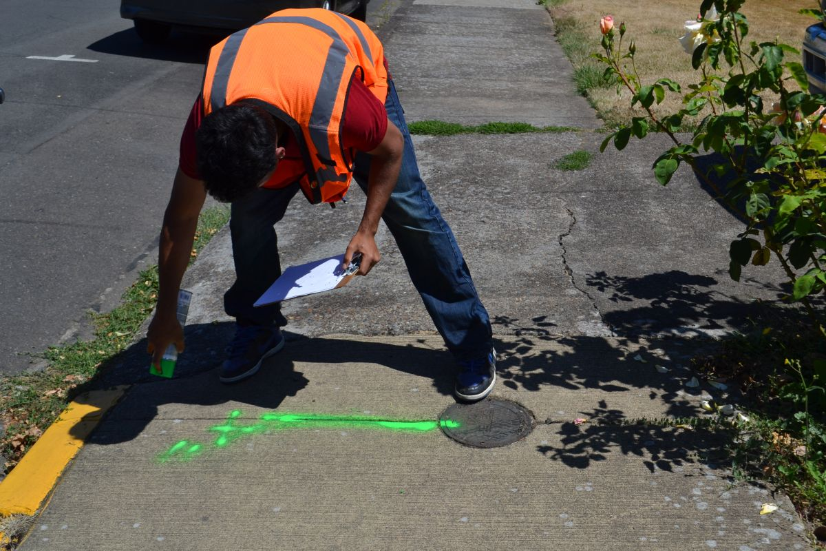 As part of his City of McMinnville internship, Abhi had to survey sidewalks and street throughout town