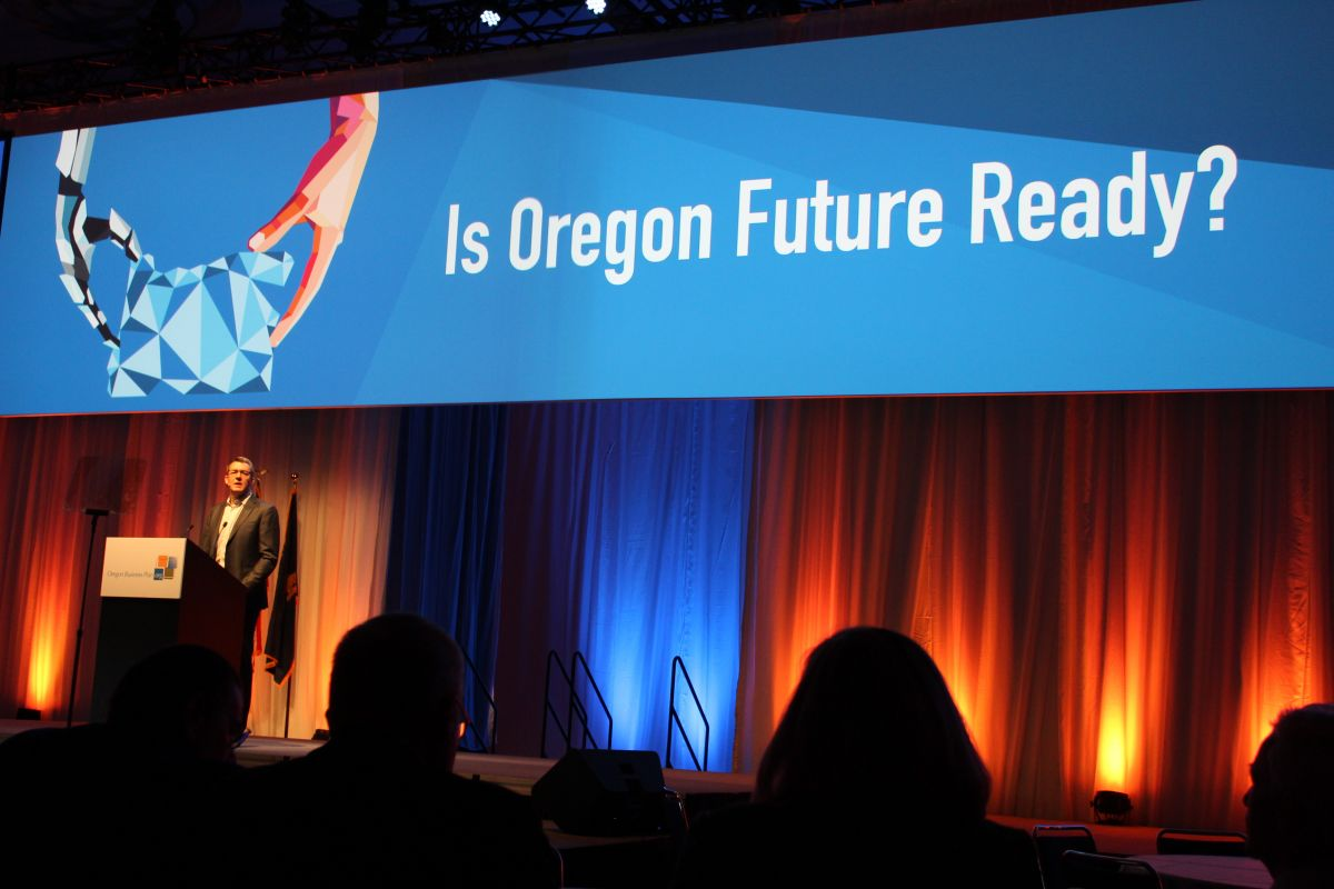 Patrick Criteser, CEO of the Tillamook County Creamery Association and Oregon Business Plan Chair, speaks on the goals of the conference and the challenges for the future.