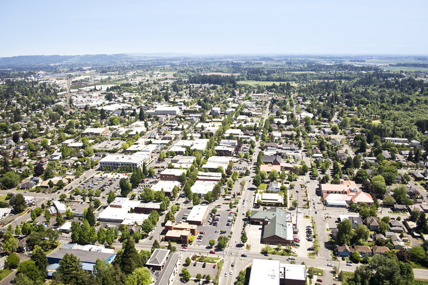 An aerial view of downtown McMinnville