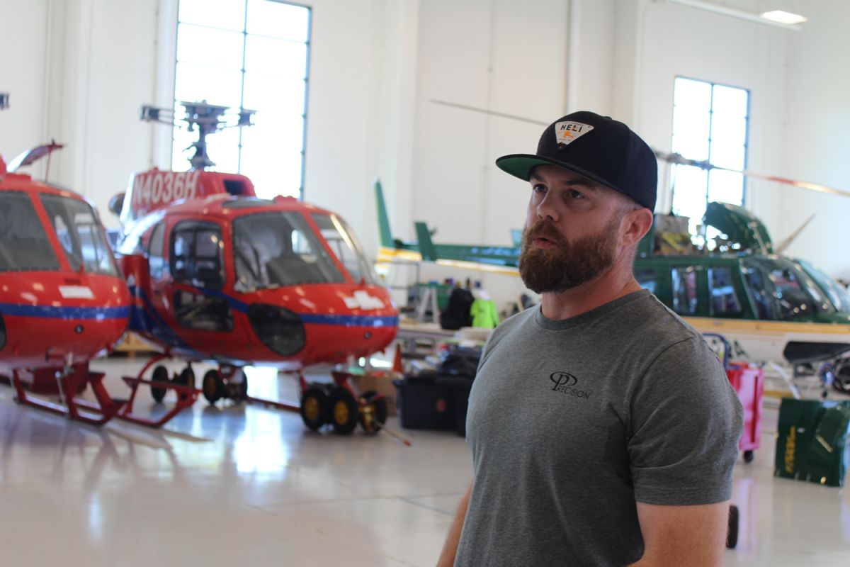 Matt Parker, President of Precision Integrated Programs, talks about Precision's helicopters in the company's hangar.