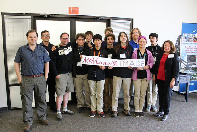 McMinnville High School Engineering and Aerospace Sciences Academy (EASA) students on a tour of NWUAV