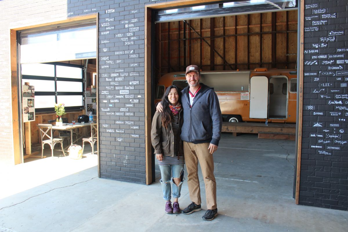 Diana Riggs and Todd Severson stand where a food truck pod will live at the Mac Market space