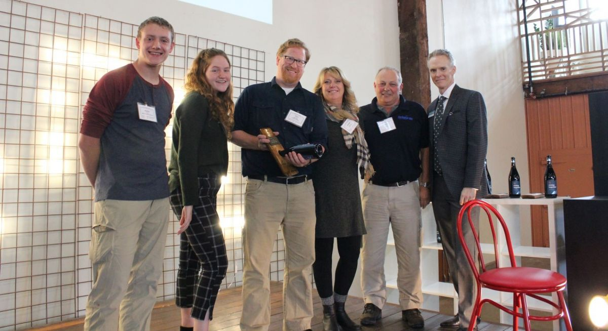 From left to right: High school students Byron Nice, Laura Denney, MHS Teacher David Larson, NWUAV's Heather Sorenson and Chris Harris, MEDP Executive Director Scott Cooper