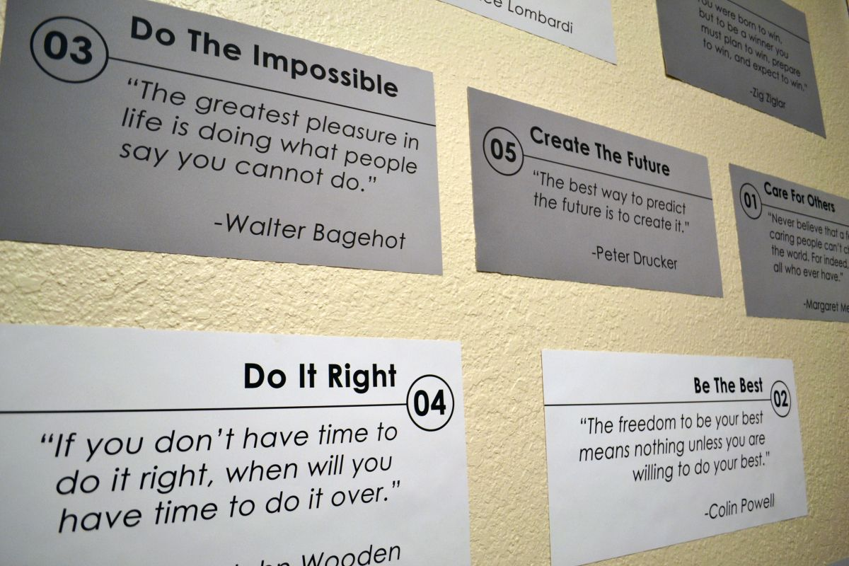 TTR's printed values and monthly focuses are printed and displayed on walls of the office.