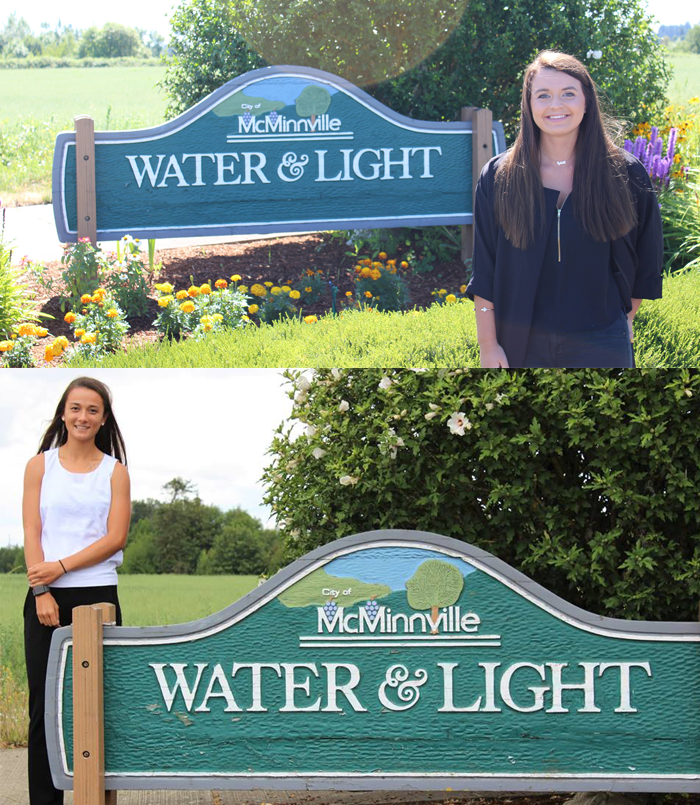McMinnville Water & Light past interns Sylvette Benetti (2017) and Aimee Bruner (2018).